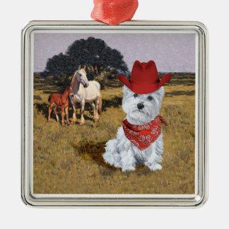Westie Cowboy with Horses Ornament
