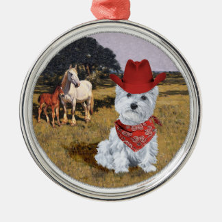 Westie Cowboy with Horses Christmas Tree Ornament