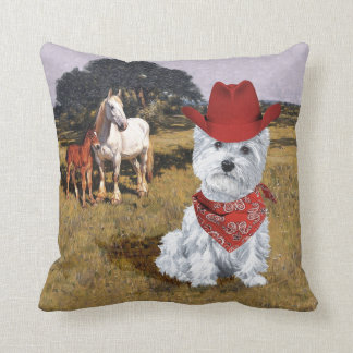 Westie Cowboy with Horses Throw Pillow