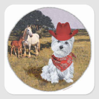 Westie Cowboy with Horses Stickers