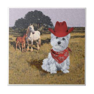 Westie Cowboy with Horses Tiles