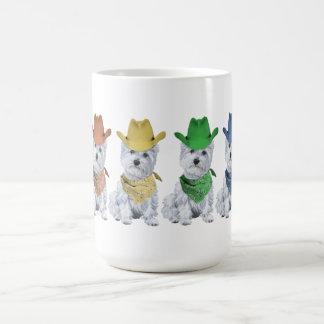 Westie Cowboys All in a Line Coffee Mugs