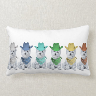 Westie Cowboys All in a Line Pillow