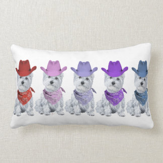 Westie Cowboys All in a Line Pillows