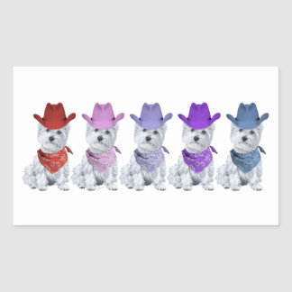 Westie Cowboys All in a Line Rectangle Sticker
