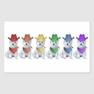 Westie Cowboys All in a Line Stickers