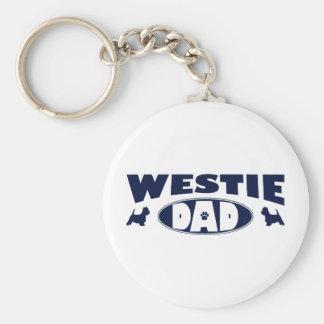 Westie Dad Basic Round Button Keychain