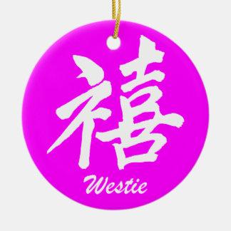 westie de la felicidad adorno navideño redondo de cerámica