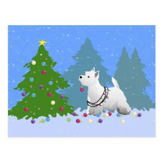 Westie Decorating a Christmas Tree in the Forest Postcard