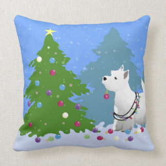 Westie Decorating a Christmas Tree in the Forest Throw Pillow