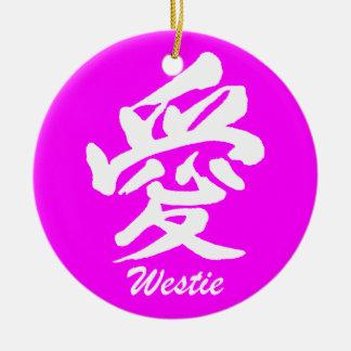 westie del amor adorno navideño redondo de cerámica