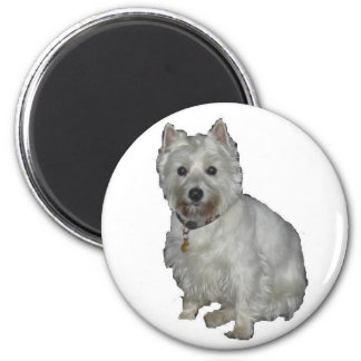 Westie Desi and Lucy 2 Inch Round Magnet