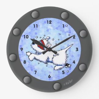 Westie Diver Porthole Wall Clock
