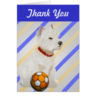 Westie Dog and Ball Art Gifts Greeting Card