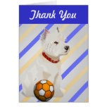 Westie Dog and Ball Art Gifts Greeting Cards