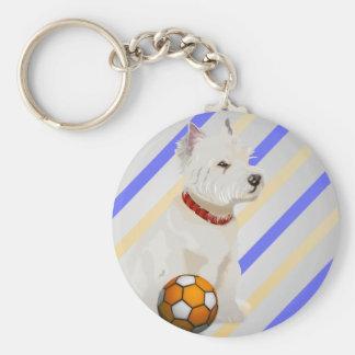 Westie Dog and Ball Art Gifts Basic Round Button Keychain