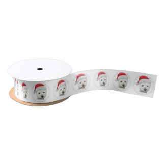 Westie Dog Art Christmas Ribbon