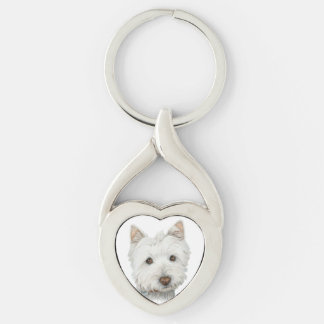 Westie Dog Art Twisted Metal Key Chain