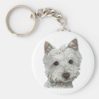 Westie dog basic round button keychain