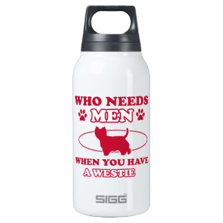 Westie dog breed designs insulated water bottle
