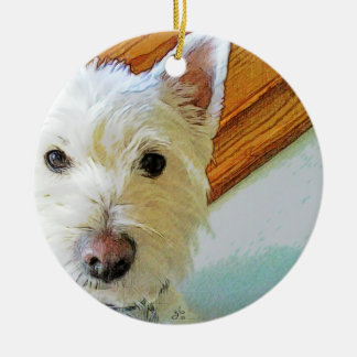 Westie Dog Face, Looking at You Ceramic Ornament