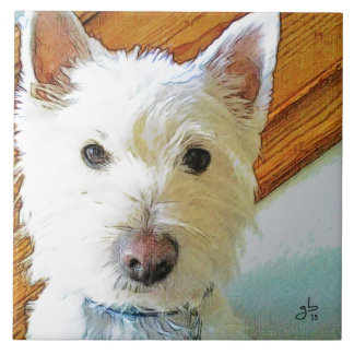 Westie Dog Face, Looking at You Tile