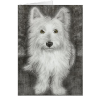 Westie Dog in graphite Greeting Cards