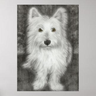 Westie Dog in Graphite Print