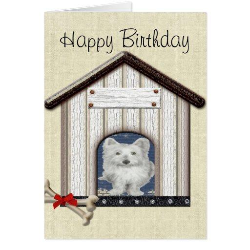 Westie Dog in Kennel Card