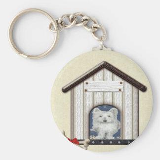 Westie Dog in Kennel Basic Round Button Keychain