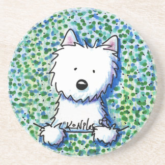 Westie Dog on Pointillism Coaster