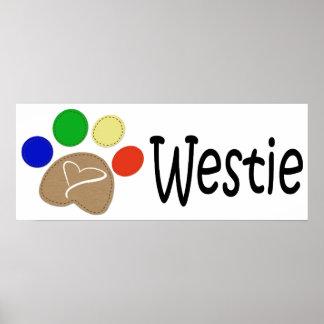 Westie Dog Paw Print Art Poster