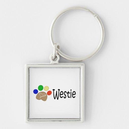 Westie Dog Paw Prints Art Key Chains