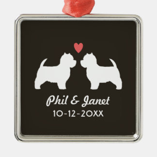 Westie Dog Silhouettes with Heart and Text Metal Ornament