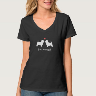 Westie Dog Silhouettes with Heart and Text T Shirt