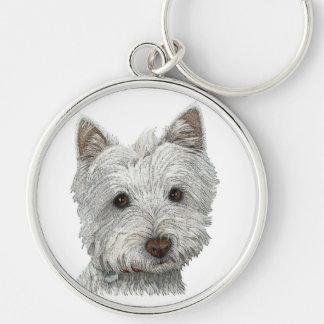 Westie dog Silver-Colored round keychain
