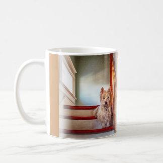 Westie Dog Sitting on the Stairs, Vintage Look Coffee Mug