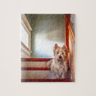 Westie Dog Sitting on the Stairs, Vintage Look Jigsaw Puzzle