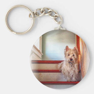 Westie Dog Sitting on the Stairs, Vintage Look Key Chains