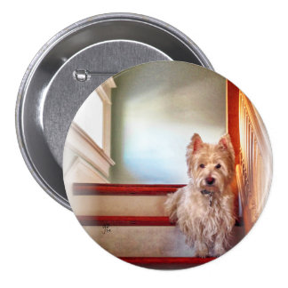 Westie Dog Sitting on the Stairs, Vintage Look Pin