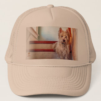 Westie Dog Sitting on the Stairs, Vintage Look Trucker Hat