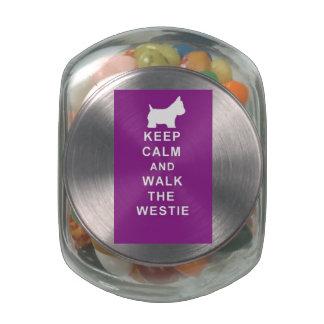Westie dog treat tin birthday christmas glass candy jar