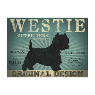 WESTIE DOG VINTAGE CANVAS