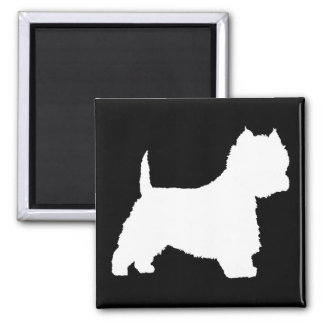 Westie Dog (white) 2 Inch Square Magnet