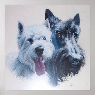 Westie e impresión de la lona de los perros del es impresiones