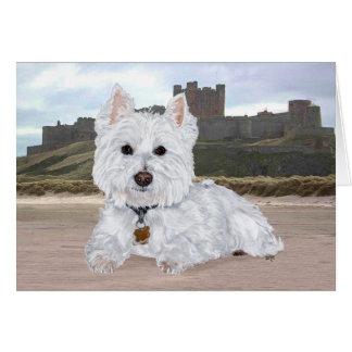 Westie en el castillo de Bamburgh Tarjeton