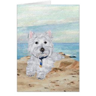 Westie en la orilla tarjeta de felicitación