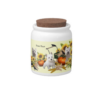 Westie Fall Harvest Design Porcelain Candy Jar