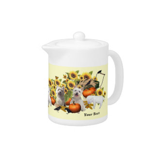 Westie Fall Harvest Design Porcelain Teapot 11 oz