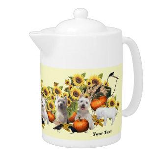 Westie Fall Harvest Design Porcelain Teapot 44 oz